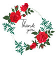 oval frame red roses with inscription vector image