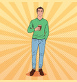 pop art awaked tired man with morning coffee vector image vector image