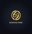 round dna gold logo vector image vector image