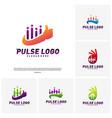 set of best pulse logo design concept people vector image vector image