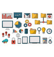 set of data analysis symbols vector image