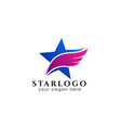 star logo design template star icon with feather vector image