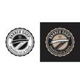 straight razor vintage round badge or logo vector image vector image