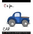 vocabulary worksheet card with cartoon car vector image