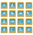 water sport icons azure vector image vector image