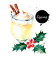watercolor hand drawn sketch christmas cocktail vector image