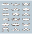 white mustache outline collection vector image