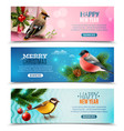 winter birds horizontal banners vector image