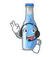 with headphone bottle soda water isolated on vector image