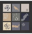 Set of Nine Creative Paper Cards Hand Drawn Ink vector image