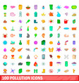 100 pollution icons set cartoon style vector image vector image