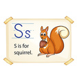 A letter S for squirrel vector image vector image