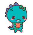 an aching dinosaur with a mug stickers vector image vector image