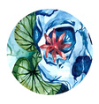 aquarelle skull with lotus in the river vector image vector image