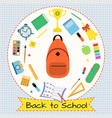 back to school banner with tape on white squared vector image