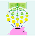 banknote transforming into coins and get in piggy vector image vector image