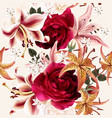 beautiful seamless floral pattern with roses vector image vector image