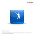 bedminton player icon - 3d blue button vector image