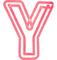 Capital letter Y drawing with Red Marker vector image vector image
