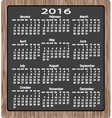 chalk on blackboard calendar 2016 vector image