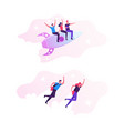 cheerful business men and women flying with jet vector image