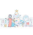 christmas time - modern line design style vector image vector image