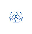 conflict boxing in heads line icon vector image vector image