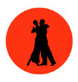dance pair in tango passion black silhouettes vector image vector image