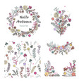 doodle set with floral design elements and vector image vector image