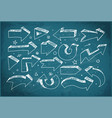doodle sketch arrows hand drawn with white chalks vector image vector image