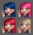 emotion hi icons smile female vector image vector image