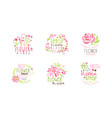 flower shop logo templates set blooming flowers vector image vector image