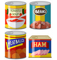 four canned food on white background vector image vector image