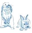 funny blue rabbits vector image vector image