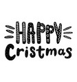 happy christmas text hand drawn design vector image
