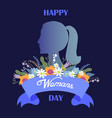 happy womans day bouquet of flowers and ribbon vector image vector image