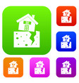 house after an earthquake set collection vector image vector image