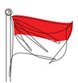 indonesian flag one continuous line abstract icon vector image