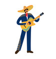 isolated flat cartoon of a mexican man playing vector image