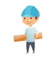 kid builder little worker in helmet children vector image vector image
