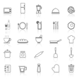 Kitchen line icons with reflect on white vector image vector image