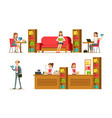 library interior and people set visitors and vector image vector image