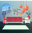 Modern Interior of Living Room with Book Shelves vector image vector image