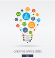 office work integrated thin line icons digital vector image vector image