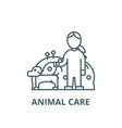 pets caredog with womananimal care line vector image vector image