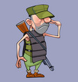 salutes cartoon male soldier in a armored vest vector image vector image