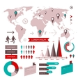 set infographic elements with world map vector image