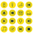 Set of 16 audio icons includes skip song start vector image