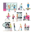 set of cleaning people characters isolated vector image