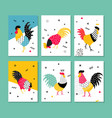 Set roosters in a pop art style